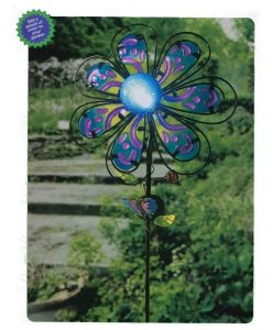 Paisley Flower Stake - Fused Glass with Center Solar Light Picture